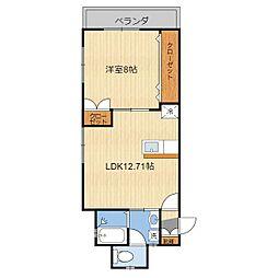 (仮)T様共同住宅(303) 3階1LDKの間取り