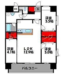 CINQ IWASE BLD 10階3LDKの間取り