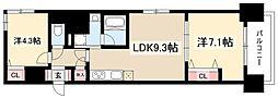 プレサンス丸の内フォート 13階1SLDKの間取り
