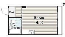 Osaka Metro谷町線 守口駅 徒歩5分の賃貸マンション 4階ワンルームの間取り