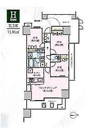 ルネリバーズタワー東大島[1704号室]の間取り