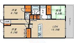 大阪ベイレジデンス ブライトフルコート 15階3LDKの間取り