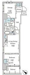 東武伊勢崎線 とうきょうスカイツリー駅 徒歩5分の賃貸マンション 4階2LDKの間取り