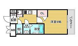 ララプレイス ザ・大阪リヴァージュ 2階1Kの間取り