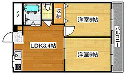 Osaka Metro四つ橋線 岸里駅 徒歩12分の賃貸マンション 4階2LDKの間取り