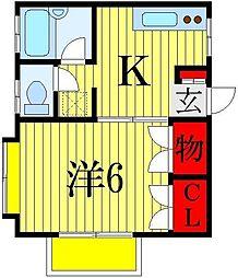プティハイツ細矢[1階]の間取り