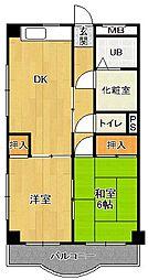 兵庫県宝塚市中山寺2丁目の賃貸マンションの間取り