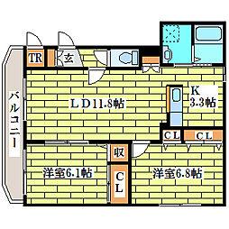 大光八番館[4階]の間取り