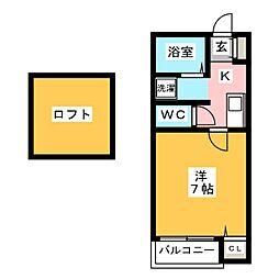 ピュア箱崎東 六番館[1階]の間取り