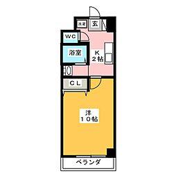 スクエア・ステージ 8階1Kの間取り