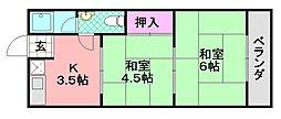 中岡第1マンション[402号室]の間取り