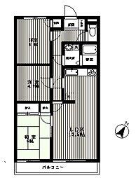 ローズ小谷田マンション[2階]の間取り