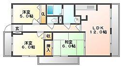 岡山県岡山市中区桑野の賃貸マンションの間取り