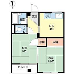 ハピネス藤田[2階]の間取り