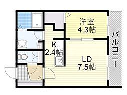 札幌市営南北線 北18条駅 徒歩11分の賃貸マンション 2階1LDKの間取り