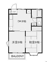 神奈川県川崎市麻生区五力田3丁目の賃貸アパートの間取り