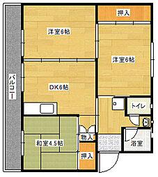 ビレッジハウス直方 2号棟[306号室]の間取り