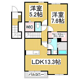 長野県松本市宮渕1丁目の賃貸アパートの間取り