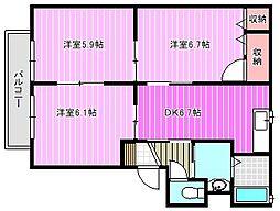 奈良県磯城郡田原本町大字千代の賃貸アパートの間取り