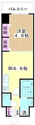ミューズ竹の塚 5階1DKの間取り