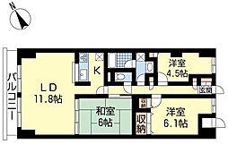 新潟県新潟市中央区上大川前通5番町の賃貸マンションの間取り