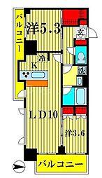 アジールコート両国北斎通 4階2LDKの間取り