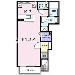 JR宇野線 早島駅 徒歩21分の賃貸アパート 1階1Kの間取り