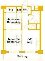横浜中原第2共同ビル[6階]の間取り