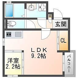 阪急神戸本線 神崎川駅 徒歩9分の賃貸アパート 3階1LDKの間取り