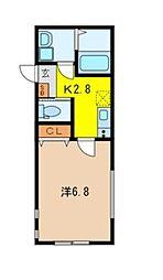 埼玉県所沢市美原町4丁目の賃貸アパートの間取り