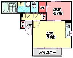 守口駅前レジデンス 3階1LDKの間取り