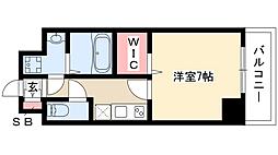 プレイズシード桜山 4階1Kの間取り