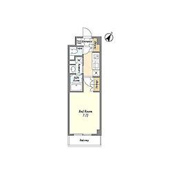 JR山手線 高田馬場駅 徒歩6分の賃貸マンション 2階1Kの間取り
