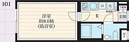 東武東上線 下板橋駅 徒歩11分の賃貸マンション 1階1Kの間取り