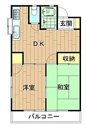 神奈川県川崎市中原区新城5丁目の賃貸アパートの間取り