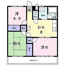 埼玉県行田市長野3丁目の賃貸アパートの間取り