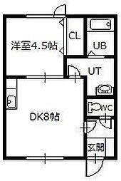 ハーモニーハイツC 1階1DKの間取り