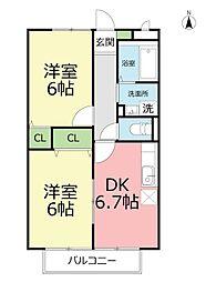 神奈川県平塚市山下の賃貸アパートの間取り