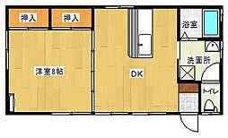 第七くま川荘 1DKの間取り