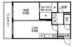 JR仙山線 東北福祉大前駅 徒歩14分の賃貸マンション 2階1LDKの間取り
