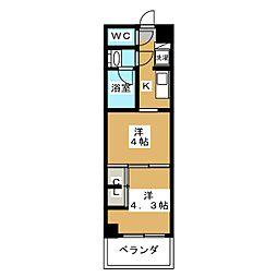 グランド・ガーラ東大島 12階2Kの間取り