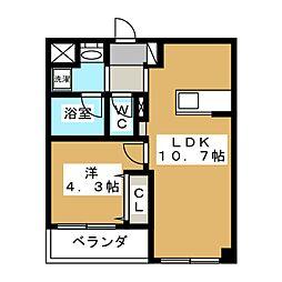 カスタリア壬生[3階]の間取り