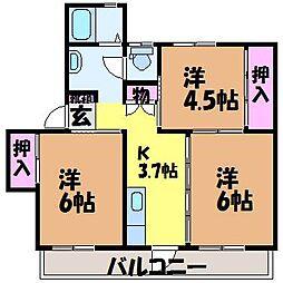 愛媛県松山市松末2丁目の賃貸マンションの間取り