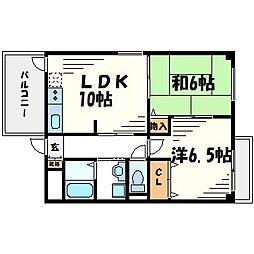 兵庫県西宮市津門宝津町の賃貸マンションの間取り