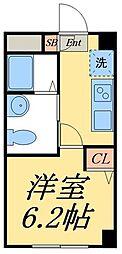 京成押上線 四ツ木駅 徒歩10分の賃貸マンション 2階1Kの間取り