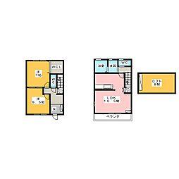 [テラスハウス] 愛知県名古屋市中川区服部5丁目 の賃貸【/】の間取り