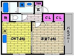 兵庫県神戸市東灘区深江北町4丁目の賃貸アパートの間取り