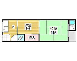 浜寺石津町東アパート[1階]の間取り