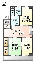 愛知県清須市新清洲6丁目の賃貸マンションの間取り