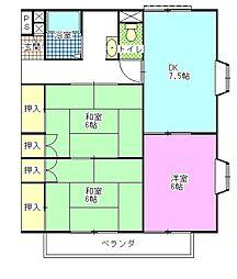 コーポ斉藤A・B[2階]の間取り